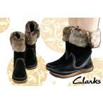 ショッピングクラークス クラークス 537F ネトルアイス BS(ブラックスエード) レディース ミドルブーツ Clarks Nettle Ice ファー BLACK SUEDE ぺたんこ ローヒール