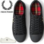 フレッドペリー FRED PERRY メンズ スニーカー ヒューズ ロー キャンバス ローカット タータンチェック 月桂樹 ホワイト ブラック B8108 父の日
