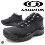 サロモン SALOMON メンズ トレッキングシューズ ミッドカット トレイルランニング ウォータープルーフ 防水 ブラック/ブラック/ピューター 372811