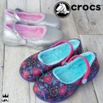 クロックス crocs 女の子 子供靴 キッズ ジュニア サンダル カリン グラフィック ラインド クロッグK スパークル メリージェーン ガールズ 女児 フラワー