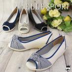 ショッピングウェッジソール エルスポーツ ELLE SPORT 靴 レディース ESP10840 オープントゥ パンプス ウェッジソール ウエッジ リボン マリン マリンスタイル