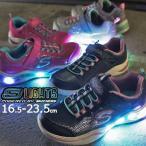 スケッチャーズ スニーカー キッズ ジュニア 光る靴 ライトアップスニーカーSライツ-パワーペタルズ 女の子 子供靴 ローカット ベルクロ ネイビー ネオンピンク