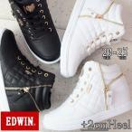 エドウィン キッズ ジュニア ハイカット スニーカー EDW-3505 女の子 黒 白 ブラック ホワイト インヒール