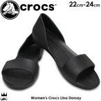 クロックス crocs オープントゥ サンダル レディース 204291 001 ブラック リナ ドルセー フラットシューズ