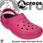 クロックス crocs 靴 レディース サンダル 203593 6JJ クラシック ラインド パターン クロッグ クロッグサンダル ファー ヒョウ柄 アニマル柄 ピンク