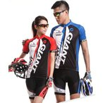 GIANT COOL MAX サイクルウェア ジャージ 自転車ウェア サイクリングウェア ブルー レッド 上下セット 半袖 自転車 インナー ウェア パンツ 青色 赤色