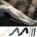 ニーハイソックス サイハイソックス カジュアル ルーズソックス 靴下 レディース シンプル 無地 ボーダー 黒 オーバーニー スーパーロング グレー ニーソ