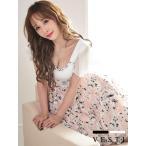 VESTI ベスティ キャバ ドレス キャバドレス ミニ S M L XL aライン ワンピース キャバクラ キャバ嬢 セクシー ミニドレス セットアップ 袖あり 花柄 服