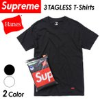シュプリーム × ヘインズ Supreme × Hanes コラボ 3 PACK TAGLESS TEES 3枚セット トップス カットソー クルーネック 半袖 Tシャツ インナー 無地 ロゴ メンズ