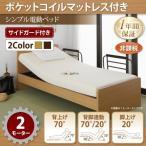 〔お客様組立〕 介護ベッド シングル 〔2モーター/ポケットコイルマットレス付き〕 シンプル電動ベッド