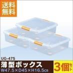 衣装ケース プラスチック UG-475 3個セット ベッド下 隙間収納 すき間 クリア 薄型 収納ケース 収納ボックス 新生活応援 衣替え アイリスオーヤマ