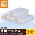 衣装ケース プラスチック ロック UG-725 ベッド下 3個セット 重ねる 隙間収納 すき間 クリア 薄型 収納ケース 収納ボックス 小物収納 衣替え アイリスオーヤマ
