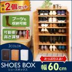 ショッピングシューズ入れ シューズラック 2個セット 靴箱 幅60cm 玄関 収納 扉付き 靴入れ シューズケース おしゃれ 可動棚 W60 SR-6035