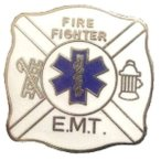 Star of Life FireFighter E.M.T スクエアピンバッチ