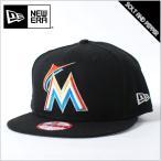 【USモデル】NEWERA ニューエラ 9FIFTY MLB SNAPBACK BLACK マイアミ・マーリンズ ナショナルリーグ 刺繍 スナップバック ブラック 黒 ホワイト 白 オレンジ ブ