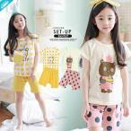 セットアップ イラスト Tシャツ ショート パンツ  部屋着  パジャマ 半袖 上下セット 韓国服 子供服 キッズ ジュニア 女の子 男の子 100cm~150cm
