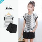 セットアップ ボーダー Tシャツ ショート パンツ 半袖 上下セット  韓国服 子供服 キッズ ジュニア 女の子 男の子 女の子 100cm~160cm