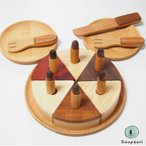 木製ままごと バースデーケーキセット 磁石入り ホールケーキ&キャンドル 食器入り ままごとセット  無着色  プレゼント スプソリ