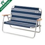 アルミフレームで軽量なベンチ。2人座れるゆったりサイズ