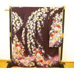 ショッピング振袖 振袖 成人式 最高級 正絹 仕立て上がり 訳あり 濃い紫地 四季の花・手毬・熨斗などの柄 豪華な刺繍 F018