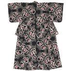 浴衣 レディース レトロ 単品 大人 女性 そしてゆめ 黒 ブラック 椿 ツバキ 綿 夏 注染 日本製 フリー 送料無料