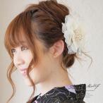 髪飾り 花 フラワー 浴衣髪飾り 白 オーガンジー パールビーズ ラメ コサージュ 着物用