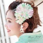 ショッピング髪飾り 髪飾り 花 フラワー 緑 菊 ブラ ビーズ コサージュ 帯飾り 夏 ゆかた 髪留め 髪かざり ヘアアクセサリー