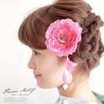 髪飾り ピンク 牡丹 ぼたん 花 髪留め クリップ 安全ピン 夏祭り 花火大会 浴衣用 成人式 卒業式 振袖用