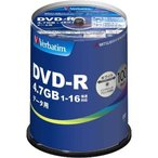ショッピングdvd-r バーベイタム DVD-R データ用 1回記録用 1-16倍速 DHR47JP100V4 ( 100枚入 )/ バーベイタム