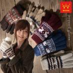 手袋 2枚仕立て フリース 動物柄 ジャガード ニット レディース グローブ 五本指 ノルディック 防寒