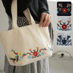 ミニトートバッグ 刺繍 花柄 キャンバス レディース 鞄 手提げ 帆布