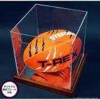 ラグビーボールコレクションケース・木製/UVカット・横斜め置き型+オリジナルプレート付