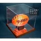ラグビーボールコレクションケース・木製/UVカット・横型