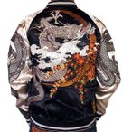スカジャン メンズ 絡繰魂 双龍刺繍スカジャン 粋  リバーシブル 和柄 ジャンパー スーベニア ジャケット