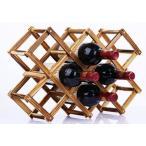 折りたたみ式 ワインラック 木製 ホルダー ワイン シャンパン ボトル スタンド 収納 ケース インテリア に 10本収納ベーキングカラー