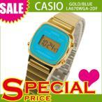 ショッピングカシオ カシオ レディース 腕時計 デジタル LA670WGA-2DF ゴールド×ブルー 青