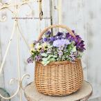 季節の花寄せ植え おまかせプランツギャザリング 木製ナチュラルウィッカーバスケットサークルSサイズ 誕生日祝いプレゼント