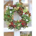 花寄せ植え おしゃれ チェッカーベリー&ビオラ&シレネ ナチュラルリース 誕生日プレゼント 開店祝い ギフト