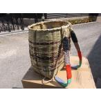 竹製 背負い籠(かご)だえん口 型  茶模様 深大 巾約35(31)cmΦ×H45cm 【竹製かご カゴ 山菜採り きのこ採り】