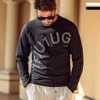 1PIU1UGUALE3 RELAX ウノピゥウノウグァーレトレ ラインストーン ロゴ 長袖Tシャツ ロンT カットソー メンズ かっこいい おしゃれ ブランド ウノピュウ