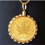 純金コインネックレス 24金 メイプル金貨 1/4オンス 18金ねじ止め飾り枠2 保証書付 純金ペンダント