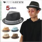 PETER GRIMM ハット ピーターグリム ストローハット メンズ レディース デップ 中折れ リボン 帽子 DEPP HAT 大きいサイズ 黒 茶 ナチュラル 青