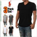 ラルフローレン Vネック Tシャツ POLO RALPH LAUREN 半袖 無地 Tシャツ メンズ 大きいサイズ ブラック ホワイト  黒 白 ブランド 3枚セット