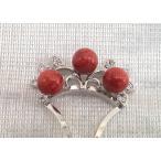 ツジモト真珠の本珊瑚 かんざし アフリカ珊瑚 髪飾り 赤珊瑚 3珠