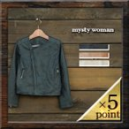 【mysty woman】 FAKE LEATHER SHORT NO COLLAR RIDERS JACKET (57221144) Lady's 3color