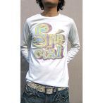 ショッピング古着 Tシャツ メンズ 長袖 色あせたような加工がかかった オリジナルデザイン ロングTシャツ ロンT