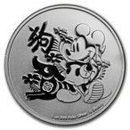 ミッキーマウス 2018年 戌年 かわいい プレゼント 銀貨 ニウエ .999