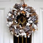 リース シックな自然素材 ホワイトウッド&スター 北欧 ギフト インテリア おしゃれ ホワイト コースタル 西海岸 玄関ドア