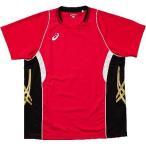 アシックス ゲームシャツHS Vレッド×ブラック  - アシックス(asics)