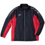 (セール)(送料無料)MIZUNO(ミズノ)メンズスポーツウェア ウインドアップジャケット 中綿ウォーマーシャツ 32JE453096 メンズ ブラックxレッド